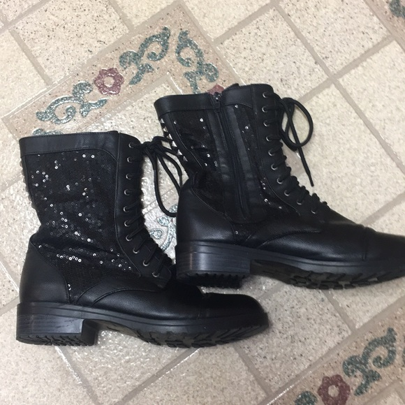 Black Sequin Size Combat Boots | Poshmark